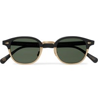 Moscot Lemtosh Mac Round Frame Matte Acetate And Gold Tone Sunglasses Black