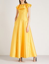 Merchant Archive Frilled Collar Sleeveless Woven Gown Yellow Satin Couture