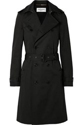 Saint Laurent Woven Trench Coat Black