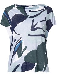 Le Tricot Perugia Printed Fitted T Shirt Blue