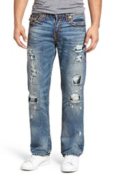 True Religion Men's Big And Tall Brand Jeans Ricky Relaxed Fit Jeans Mended Brawl
