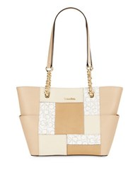Calvin Klein Patchwork Leather Tote Almond