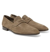 Berluti Luciano Nubuck Penny Loafers Taupe
