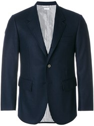 Thom Browne Solid Wool Flannel Wide Lapel Sport Coat Blue