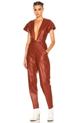 Zeynep Arcay V Neck Leather Jumpsuit In Red