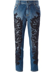 Amen Beaded Cropped Jeans Blue