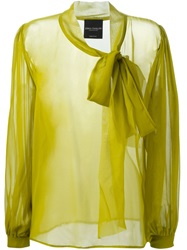 Erika Cavallini Semi Couture Sheer Pussy Bow Blouse Green