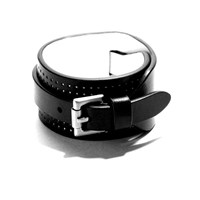 Jam Mmxiv Black And White Wide Leather Cuff Bracelet