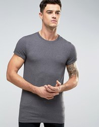 Asos Longline Muscle T Shirt With Roll Sleeve In Charcoal Marl Charcoal Marl Grey