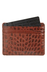 Marc By Marc Jacobs 'Embossy' Leather Card Case Dark Sepia Brown