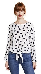 Three Dots Dot Voile Tie Front Blouse White