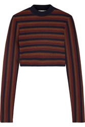 Victoria Beckham Cropped Striped Stretch Wool Blend Sweater Navy