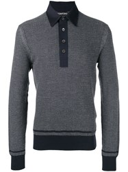 Tom Ford Front Placket Jumper Blue