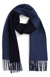 Polo Ralph Lauren Men's Classic Reversible Wool Blend Scarf Hunter Navy Shale Blue Hthr