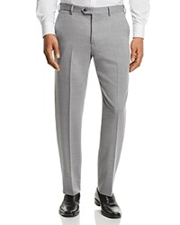 Emporio Armani Basketweave Regular Fit Tailored Dress Pants Light Gray Basket Weave