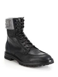 Cole Haan Judson Leather Tall Lace Up Boots Black Grey