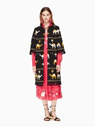 Kate Spade Spice Things Up Embroidered Camel Coat Black Multi