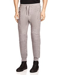 The Kooples Quilted Moto Fleece Sweatpants Gray