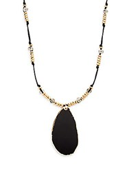 Stella Ruby Agate And Leather Pendant Necklace Gold Black