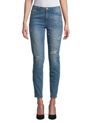 Design Lab Lord And Taylor Faux Pearl Trimmed Distressed Jeans Ray Of Light