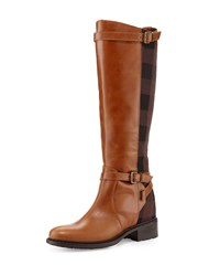 Charles David Pirella Plaid Flat Riding Boot Cognac Red