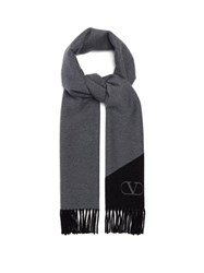 Valentino Logo Jacquard Double Faced Cashmere Blend Scarf Black Grey