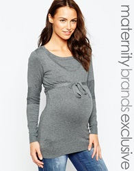 Mama Licious Mamalicious Nursing Fine Knit Jumper With Waist Tie Grey