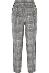 Fleur Du Mal Satin Trimmed Prince Of Wales Checked Silk Tapered Pants Black