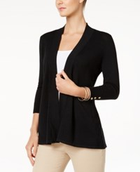 Charter Club Petite Honeycomb Stitch Open Front Cardigan Only At Macy's Deep Black