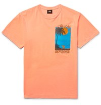 Stussy Eventide Printed Cotton Jersey T Shirt Orange
