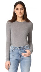 Alexander Wang T By Classic Cropped Long Sleeve Tee Heather Grey