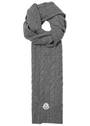 Moncler Grey Cable Knit Wool Scarf