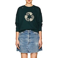 Re Done Recycle Logo Distressed Cotton Sweatshirt Dk. Green