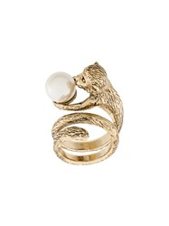 Alberta Ferretti Monkey Ring Metal Pearls Metallic
