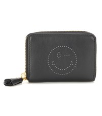 Anya Hindmarch Smiley Small Zip Around Leather Wallet Black