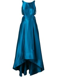 Aidan Mattox Flared Gown With Cut Outs Blue