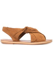 Derek Lam 10 Crosby Crossover Front Flat Sandals Brown