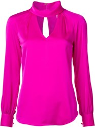 Trina Turk Cut Out Detail Blouse Pink Purple