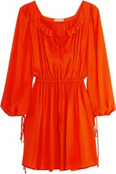 Michael Kors Ruffled Silk Crepe Mini Dress Bright Orange
