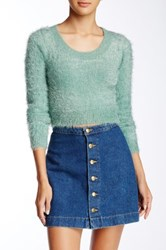 American Apparel Fuzzy Cropped Sweater Blue