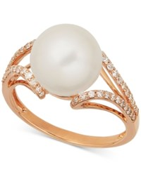 Honora Style Cultured Freshwater Pearl 10Mm And Diamond 1 4 Ct. T.W. Ring In 14K Rose Gold White