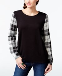 G.H. Bass And Co. Plaid Sleeve Crew Neck Top