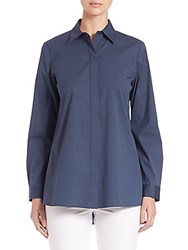 Lafayette 148 New York Adara Stretch Cotton Blouse Aura