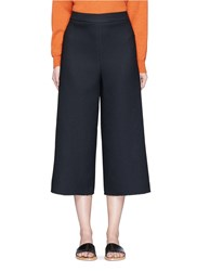 Tibi Frayed Cuff Crepe Sable Culottes Black