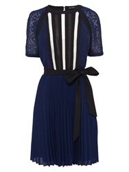 Karen Millen Graphic Lace Insert Pleat Dress Blue Multi