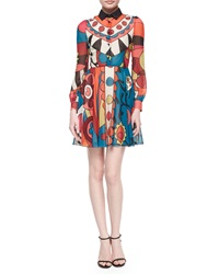 Red Valentino Long Sleeve Flower Power Graphic Dress