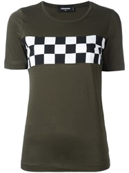 Dsquared2 Checkerboard Chest Detail T Shirt Green