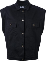 Dalood Dragon Embroidered Denim Vest Black