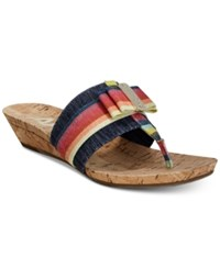 Anne Klein Sport Imperial Thong Wedge Sandals Created For Macy's Coral Blue