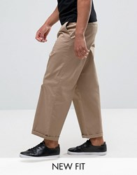 Asos Wide Leg Chinos In Stone Stone